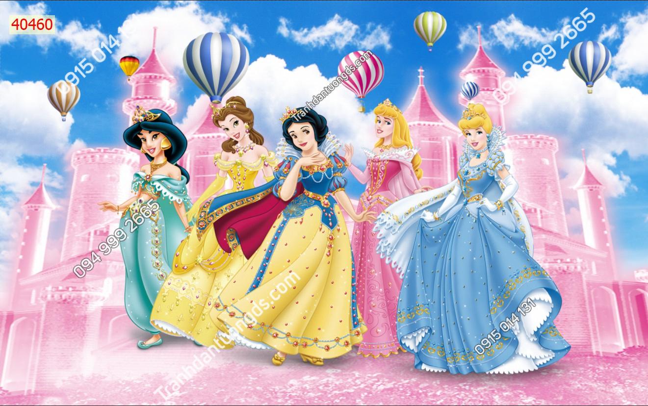 Tranh dán tường công chúa và lâu đài hồng 40460