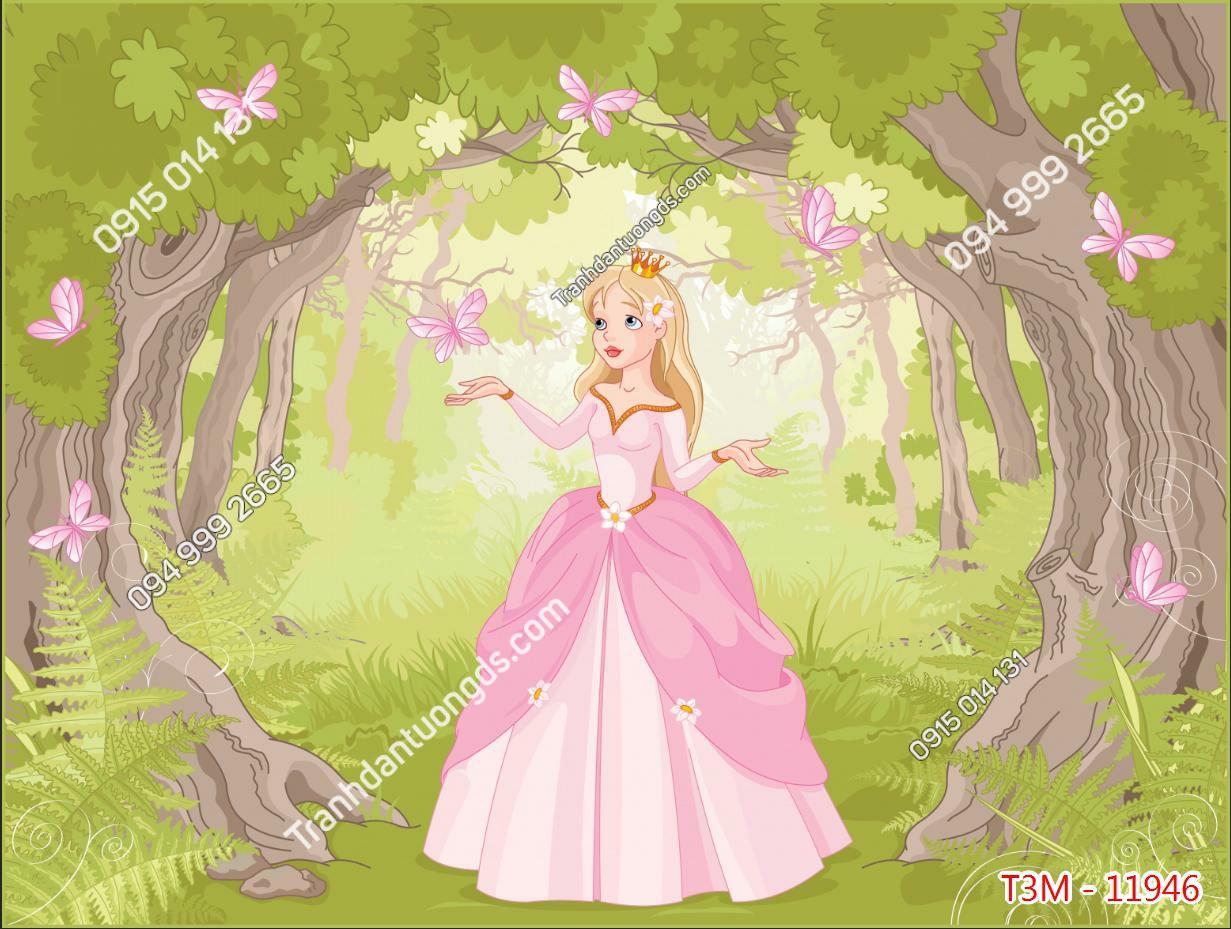 Tranh dán tường công chúa váy hồng - 11946 demo