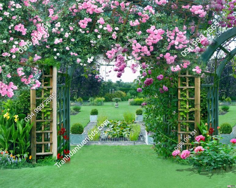 Tranh dán tường cổng hoa hồng - 10169 demo