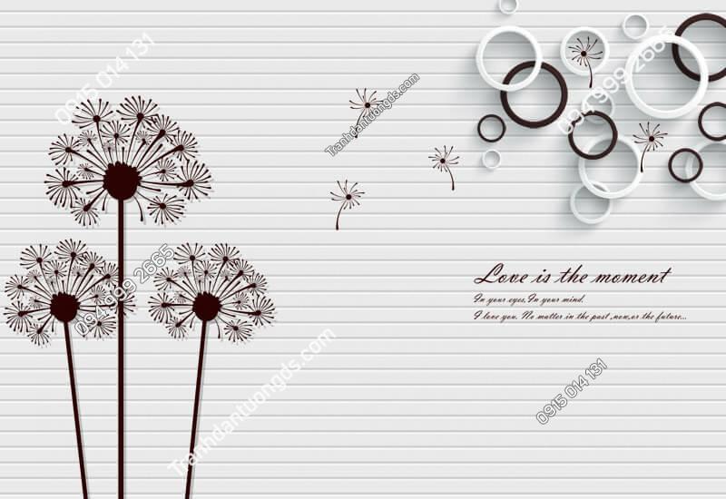 Tranh dán tường hoa bồ công anh hiện đại - (1248)