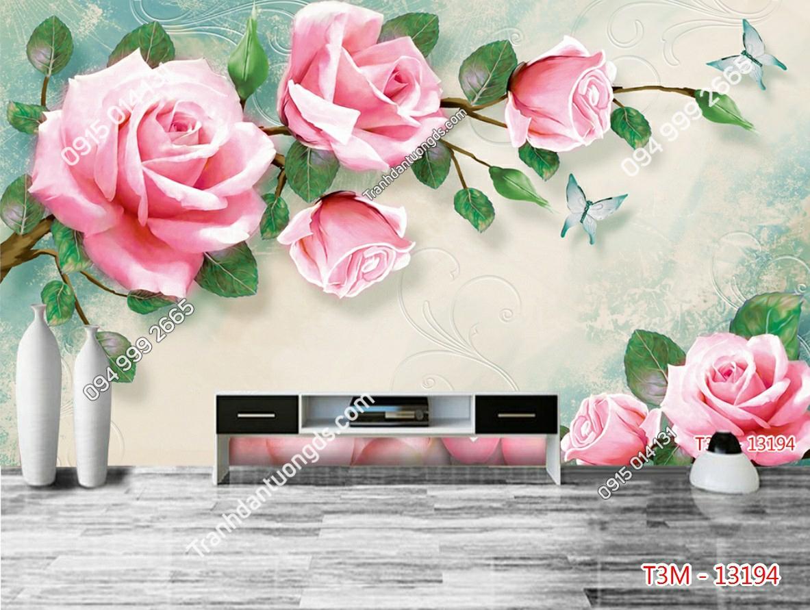 Tranh dán tường hoa hồng - 13194 demo