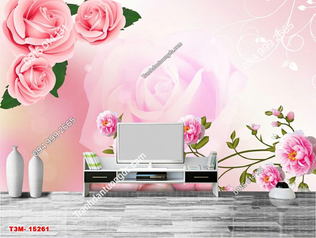 Tranh dán tường hoa hồng 3D - 15261 DEMO