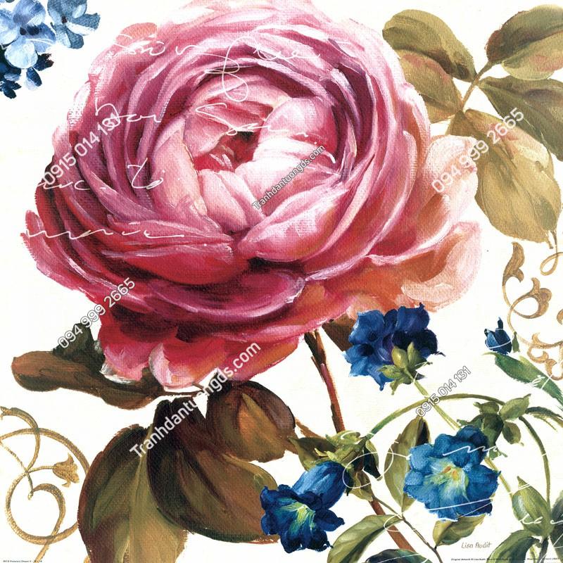 Tranh dán tường hoa hồng 3D - (19)