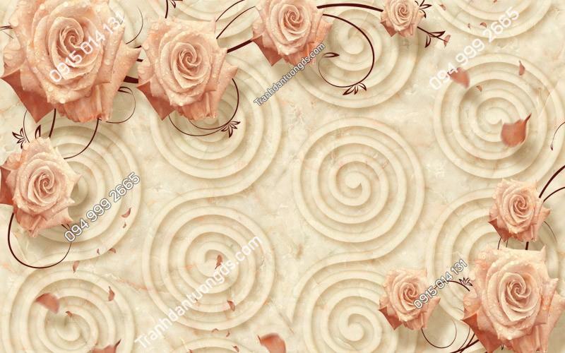 Tranh dán tường hoa hồng 3D - (3054) copy