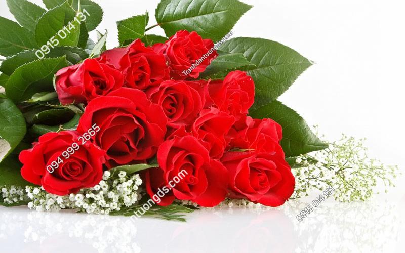 Tranh dán tường hoa hồng 3D -HOA- (6)