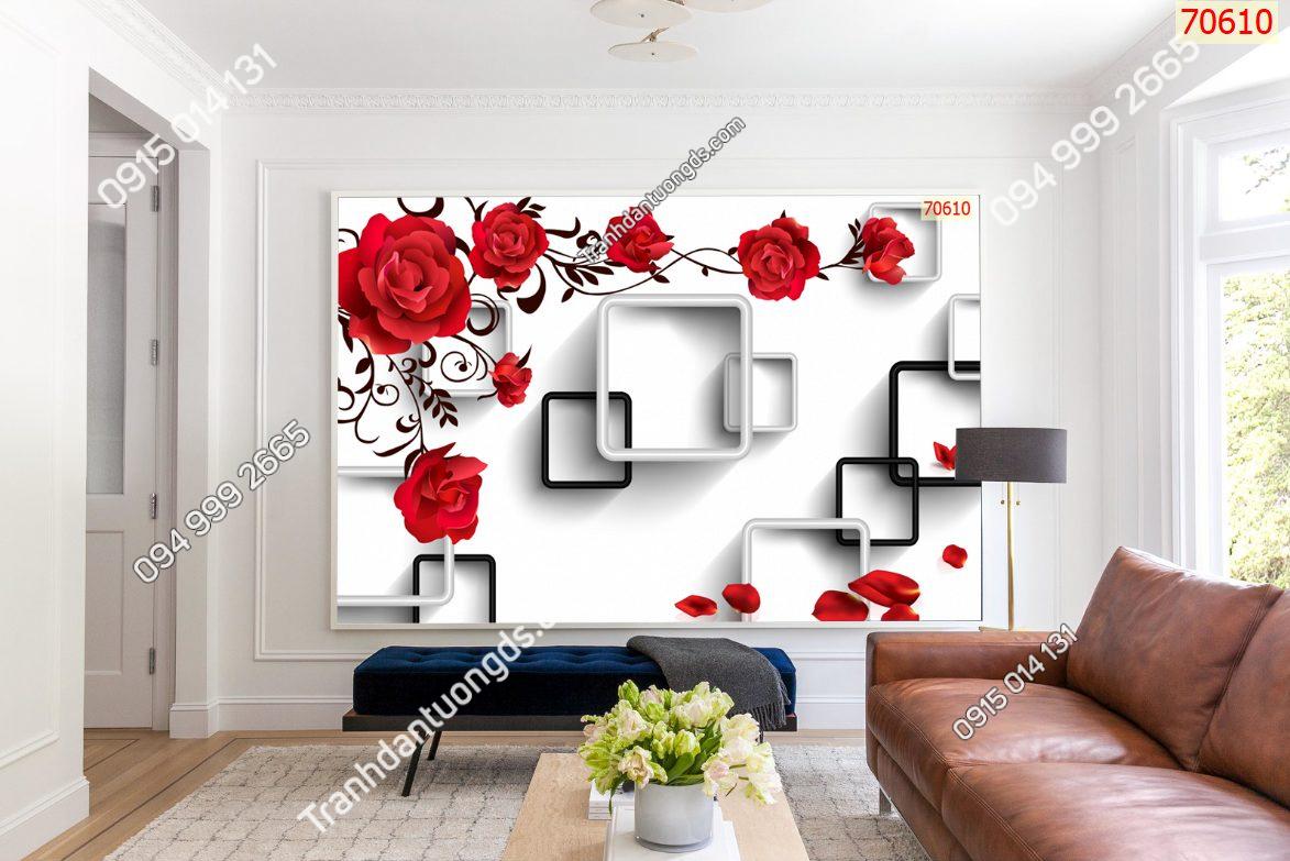 Tranh dán tường hoa hồng 70610 demo