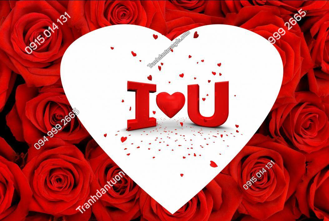 Tranh dán tường hoa hồng I Love You - 15310 DEMO