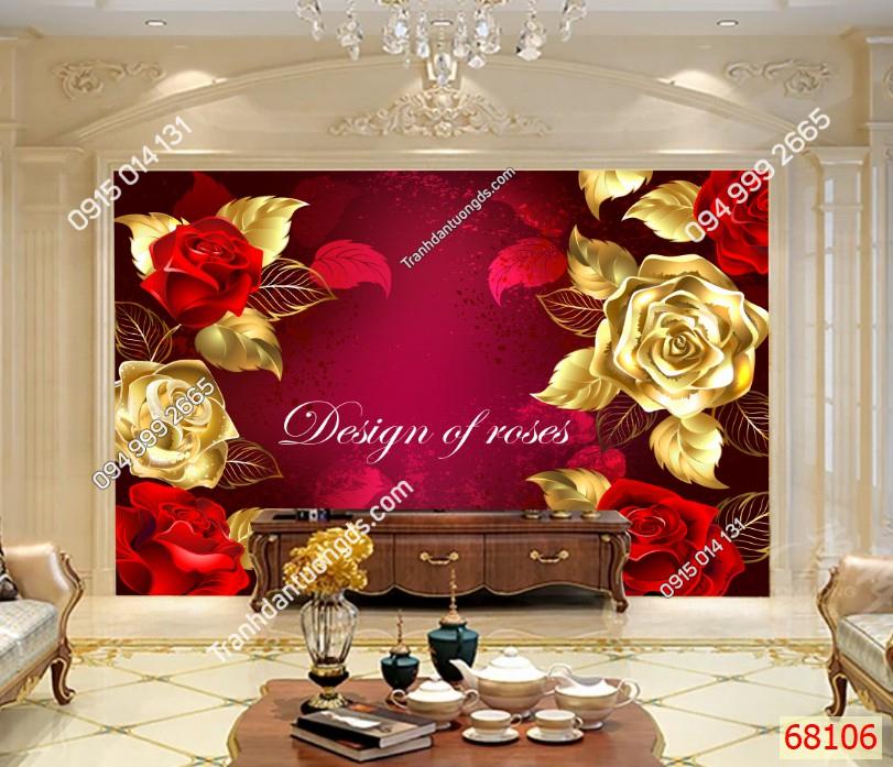 Tranh dán tường hoa hồng dán phòng khách 68106 demo