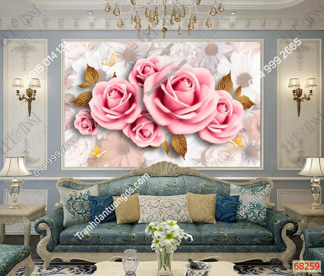 Tranh dán tường hoa hồng dán phòng khách 68259 demo