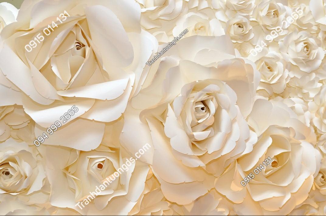 Tranh dán tường hoa hồng màu trắng - 10830 demo