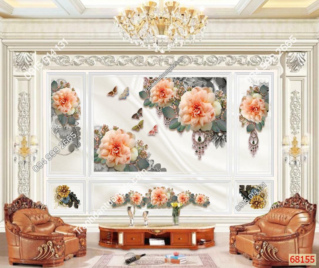 Tranh dán tường hoa hồng phòng khách 68155 demo