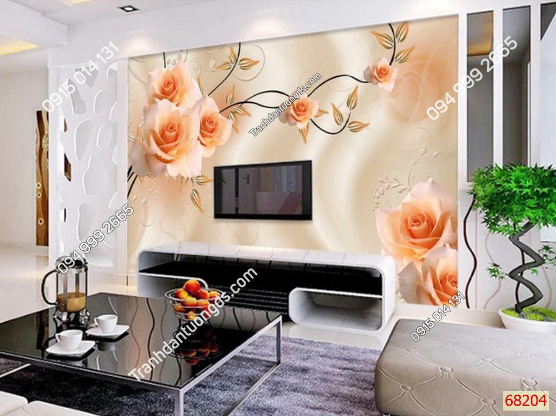 Tranh dán tường hoa hồng sau tivi 68204 demo