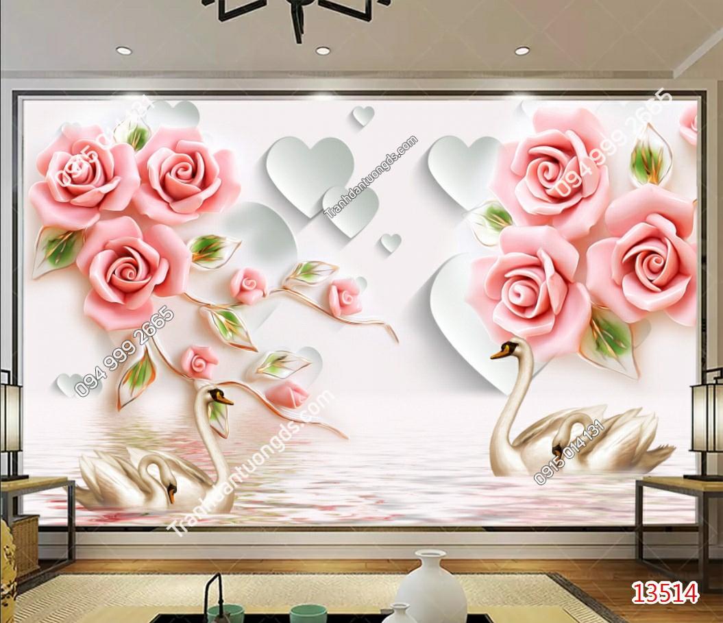 Tranh dán tường hoa hồng thiên nga - 13514 demo