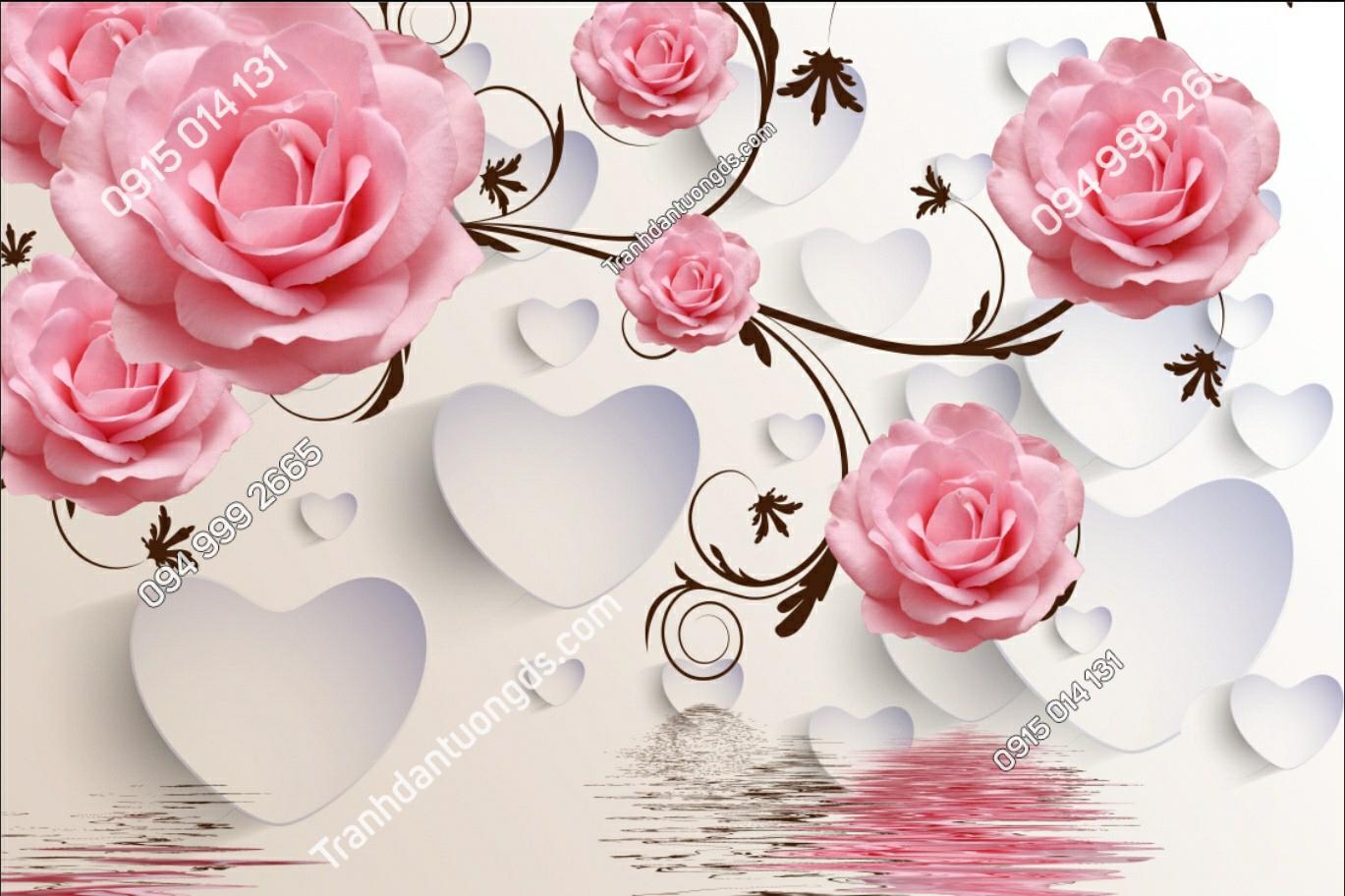 Tranh dán tường hoa hồng trái tim - 11601 demo