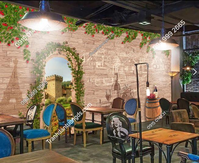 Tranh dán tường hoa hồng và rượu DS16506379