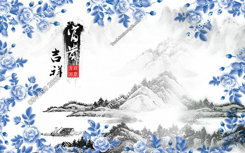 Tranh dán tường hoa hồng xạm và tranh thủy mặc- (3358) copy
