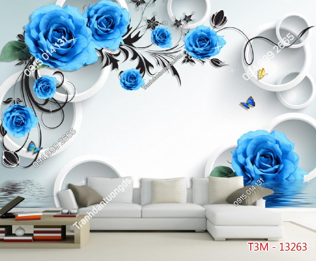 Tranh dán tường hoa hồng xanh - 13263 demo