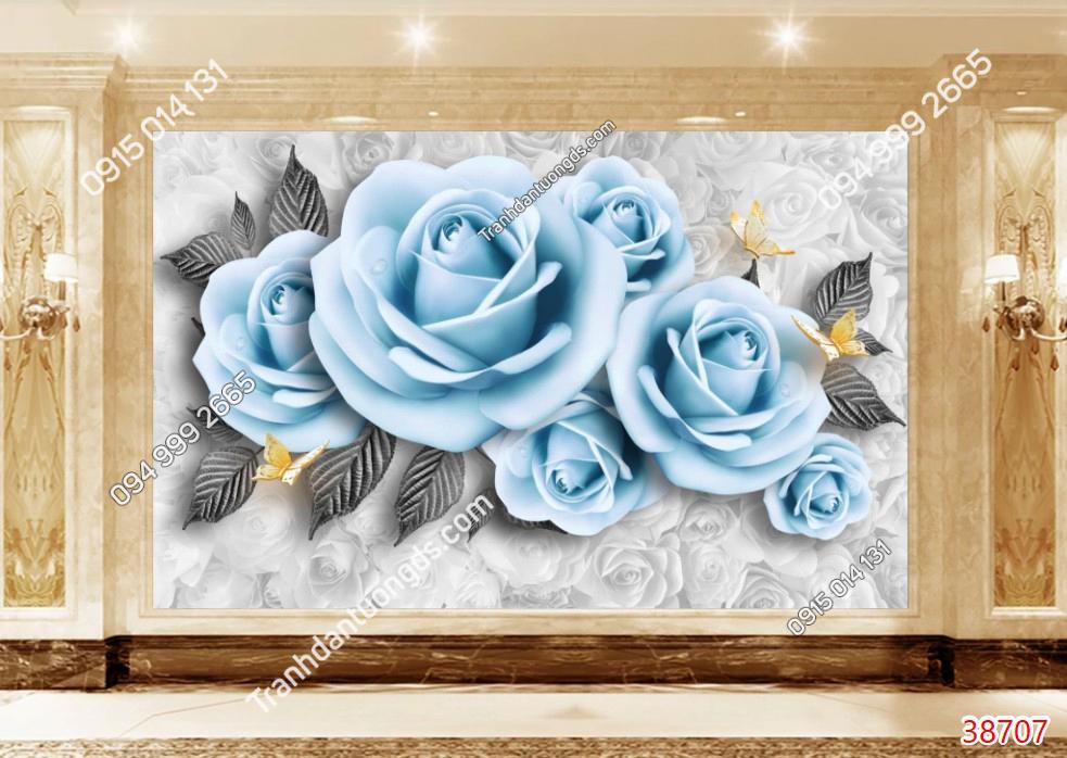 Tranh dán tường hoa hồng xanh mã 38707 demo