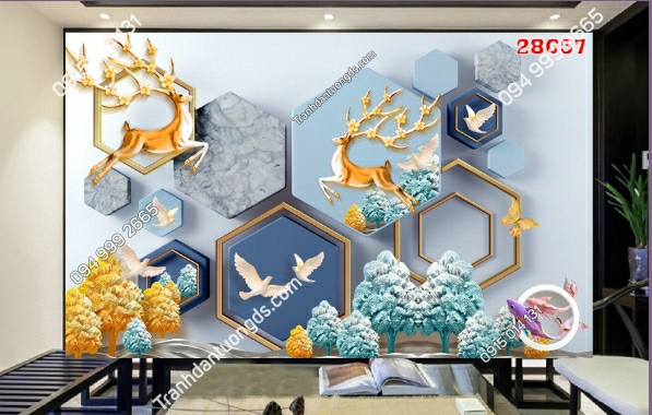 Tranh dán tường hươu 3D 28657-demo