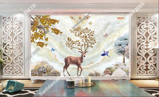 Tranh dán tường hươu 3D dán phòng khách 49079-DEMO