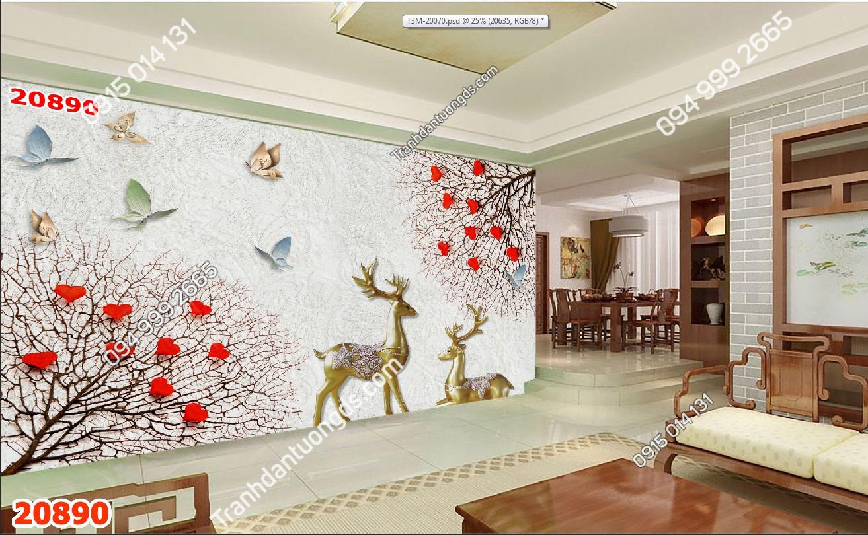 Tranh dán tường hươu dán phòng khách 20890 demo