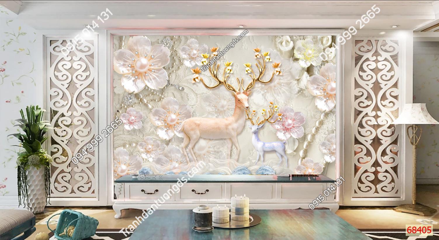 Tranh dán tường hươu hoa 3D 68405 demo