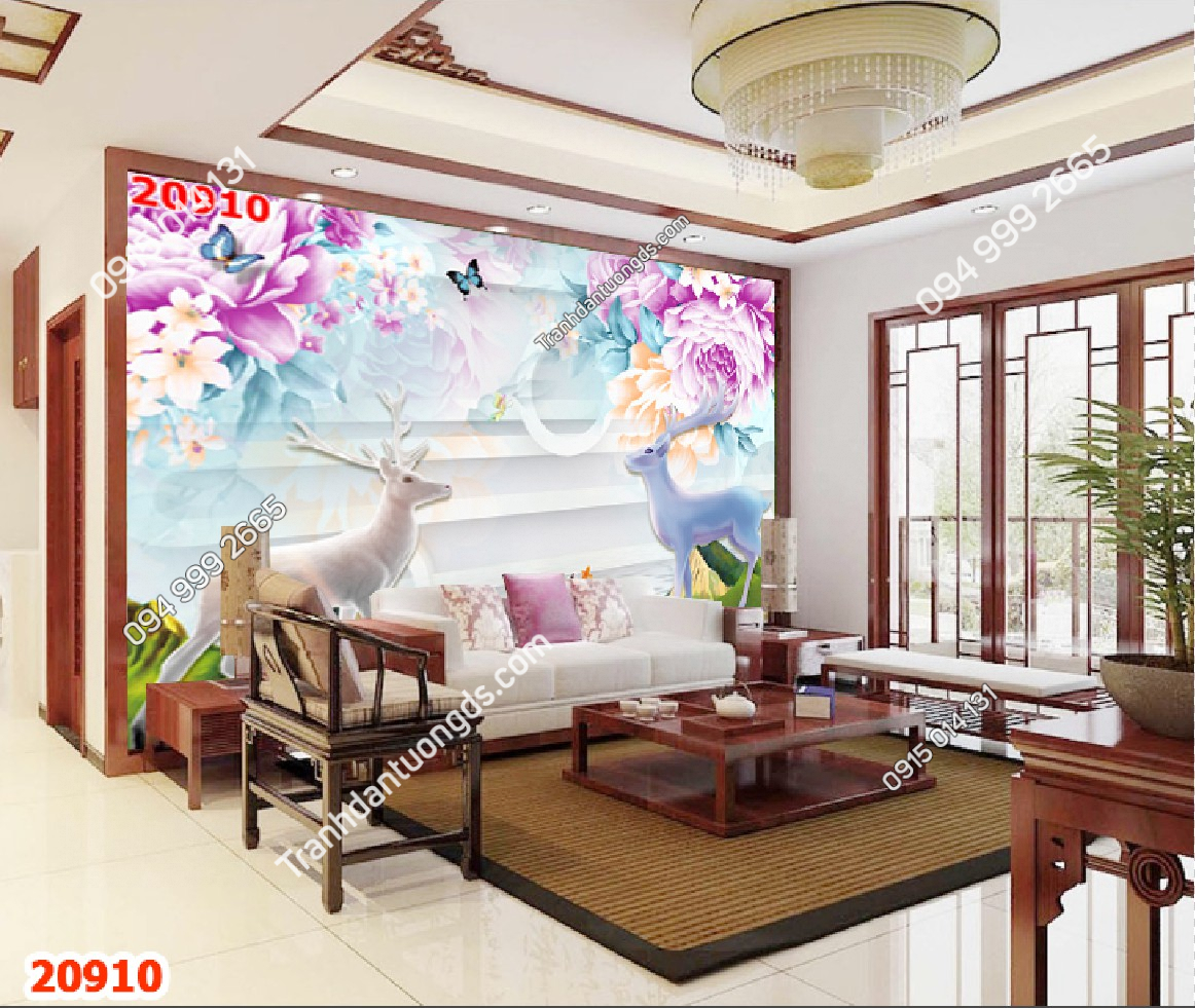 Tranh dán tường hươu phòng khách 20910 demo