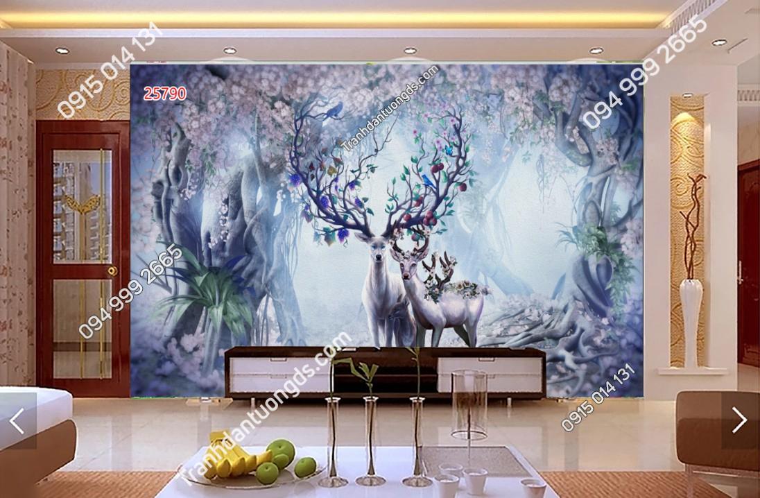 Tranh dán tường hươu rừng 25790 DEMO