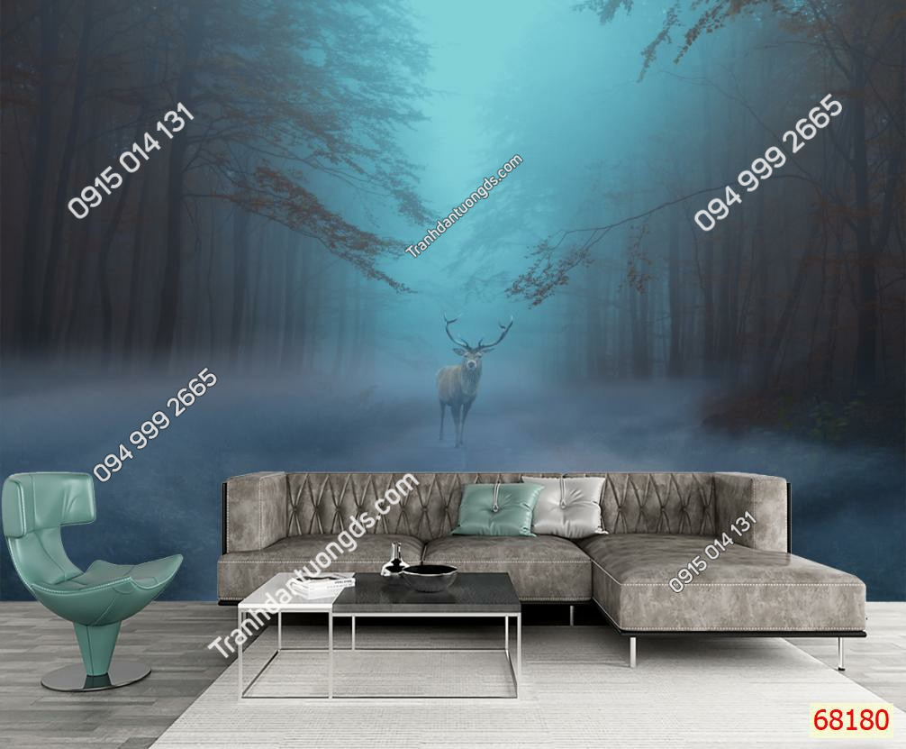Tranh dán tường hươu rừng sương mù 68180 demo