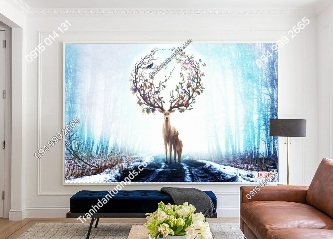 Tranh dán tường hươu rừng tuyết 38380 demo