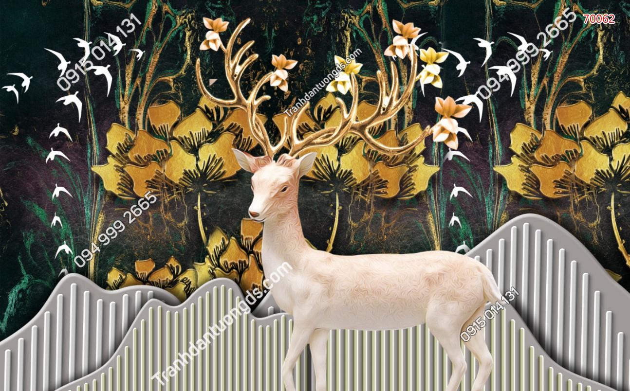 Tranh dán tường hươu sừng vàng 70062
