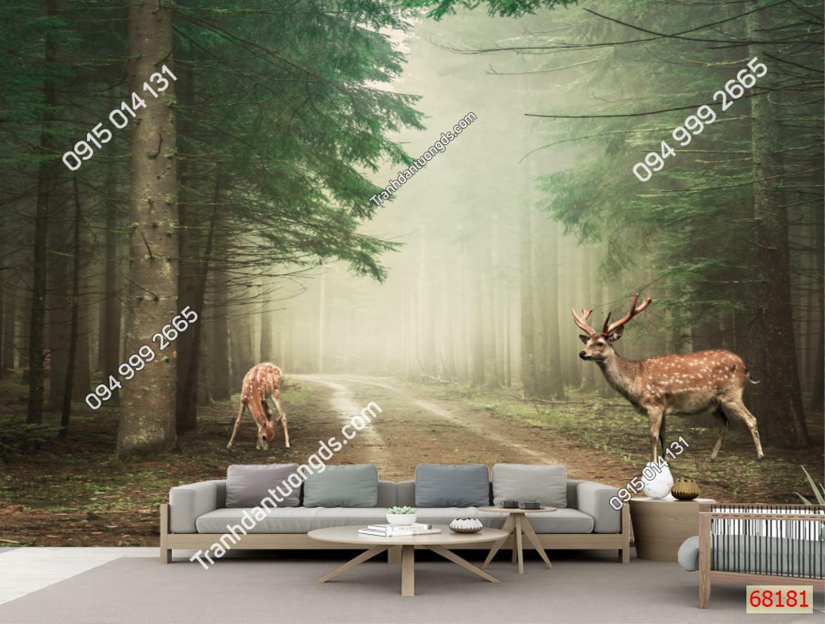 Tranh dán tường hươu trong rừng thông 68181 demo