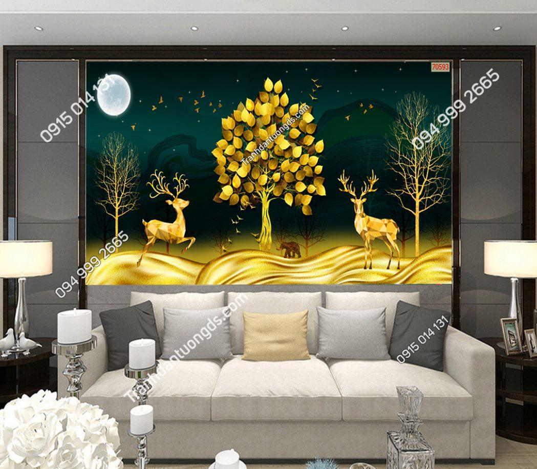 Tranh dán tường hươu và cây lá vàng 70593 demo