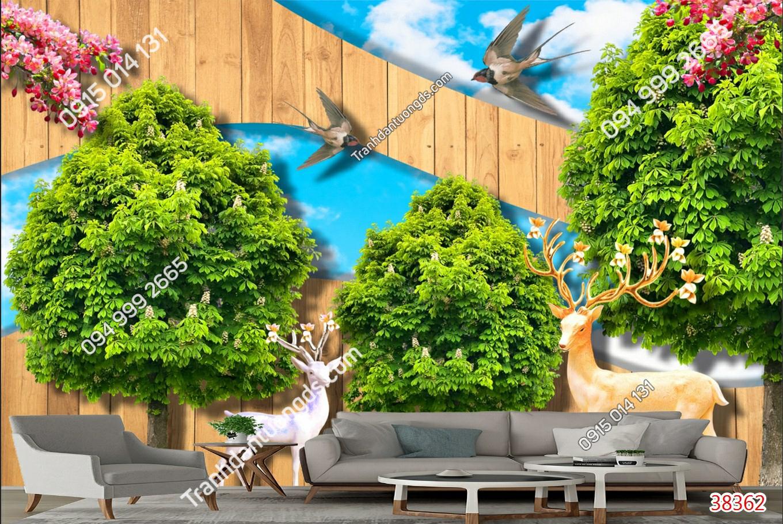 Tranh dán tường hươu và cây xanh 38362 demo