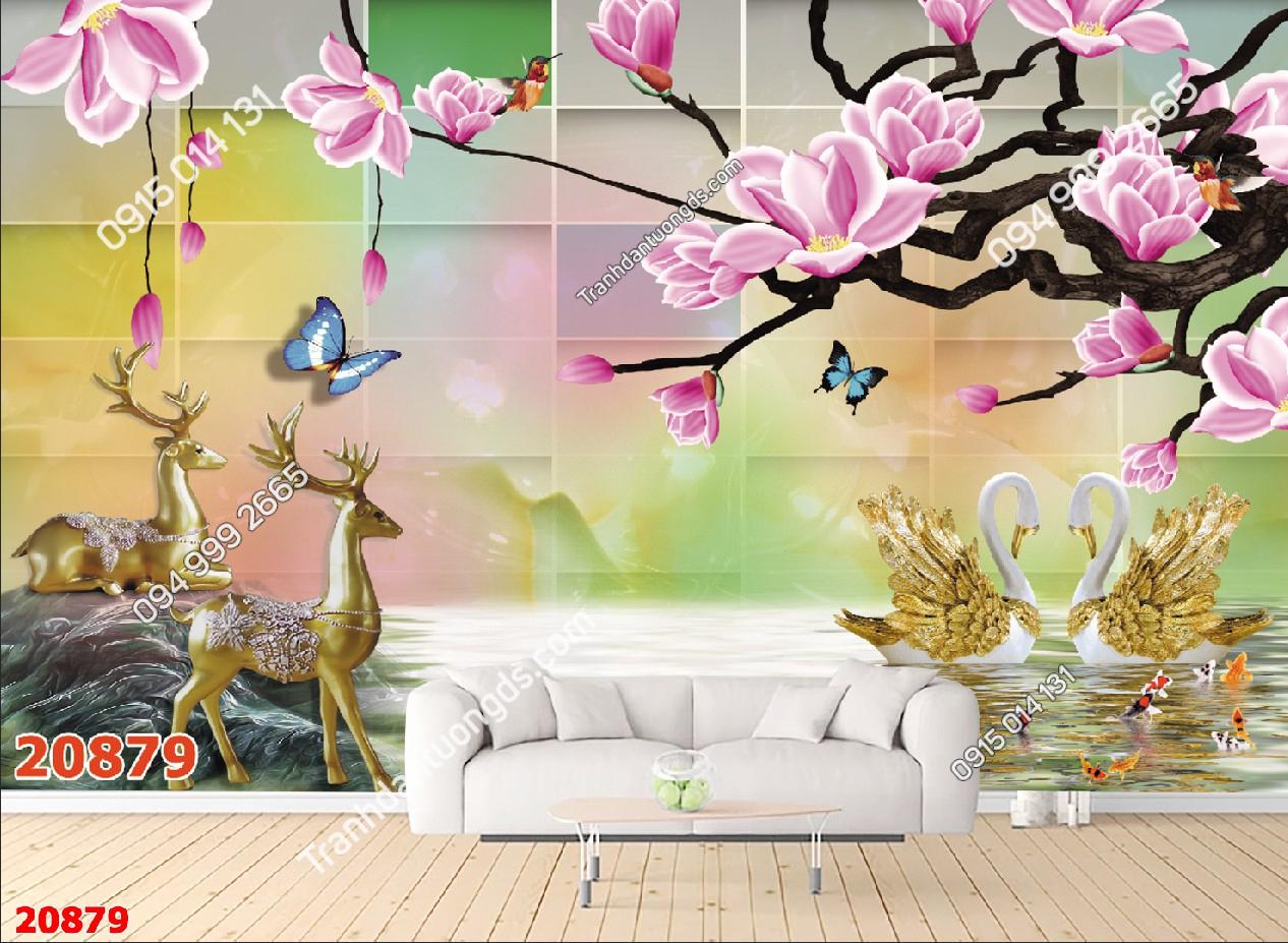 Tranh dán tường hươu và hoa đào 20879 demo
