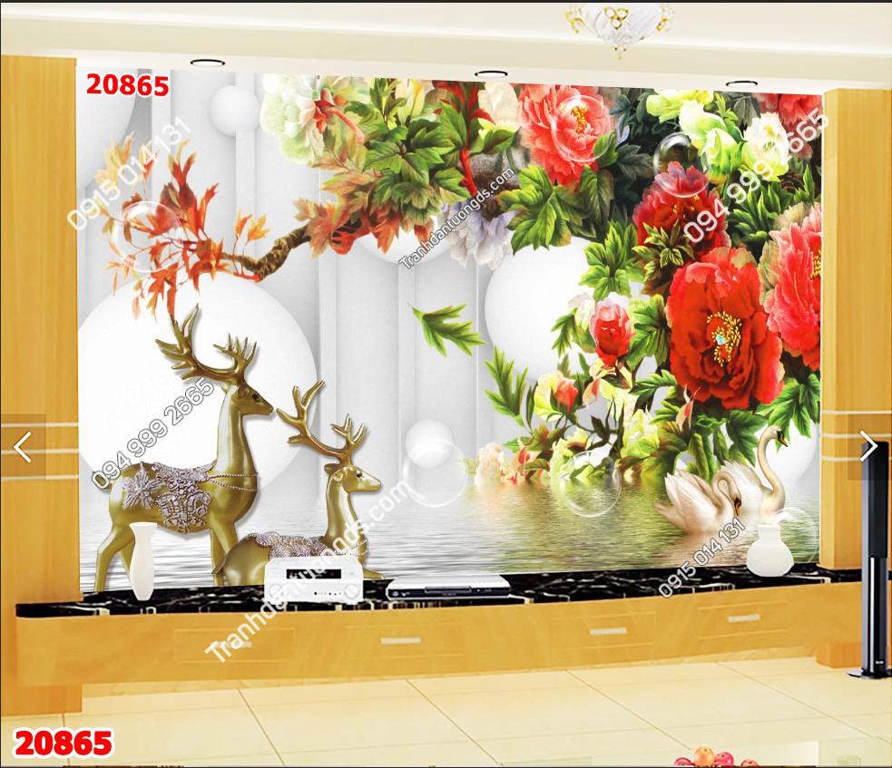 Tranh dán tường hươu và hoa hồng 20865 demo