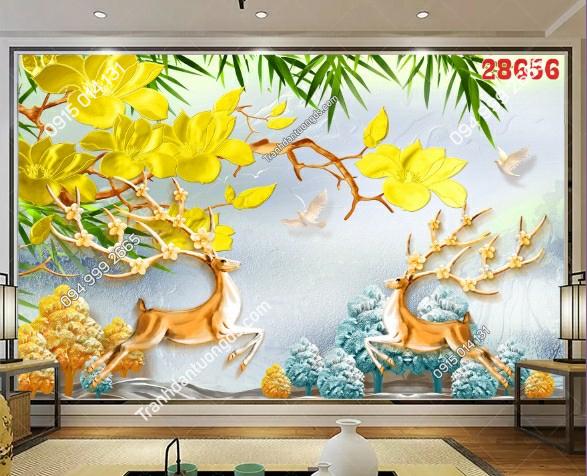 Tranh dán tường hươu và hoa mai vàng 28656