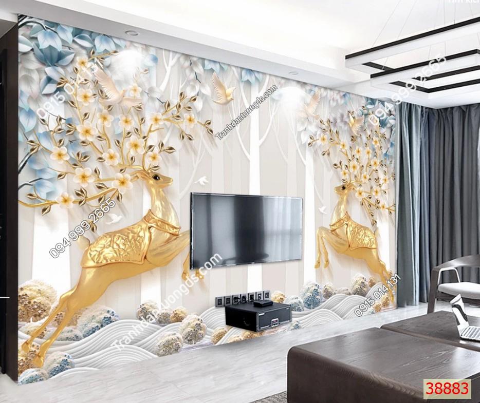 Tranh dán tường hươu vàng 38883 demo