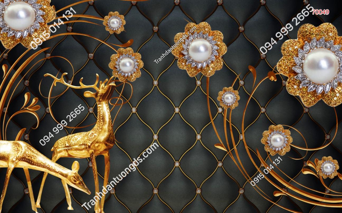 Tranh dán tường hươu vàng 3D 70049