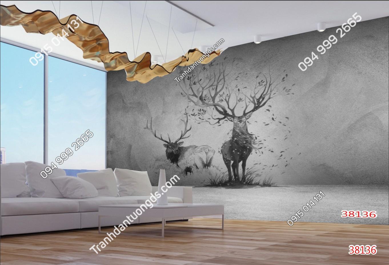 Tranh dán tường hươu xám 38136
