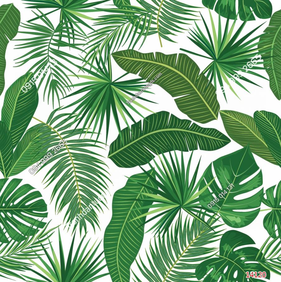 Tranh dán tường lá cây nhiệt đới DEMO