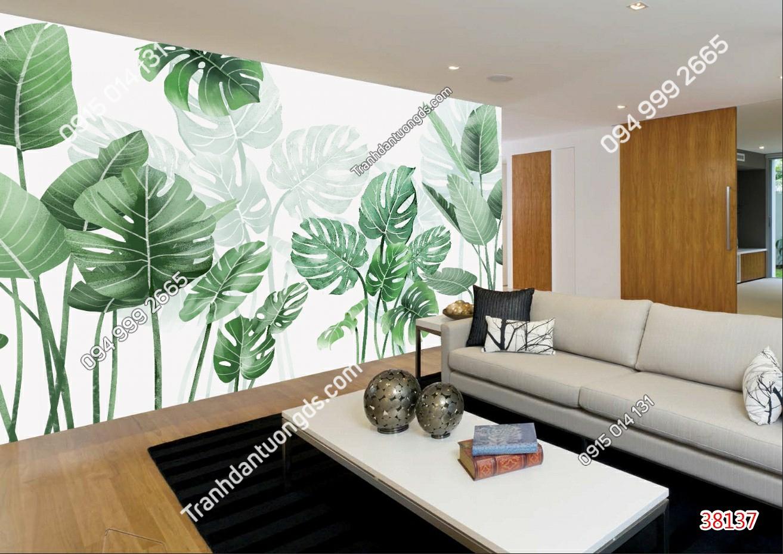 Tranh dán tường lá cây nhiệt đới dán phòng khách 38137 (2)
