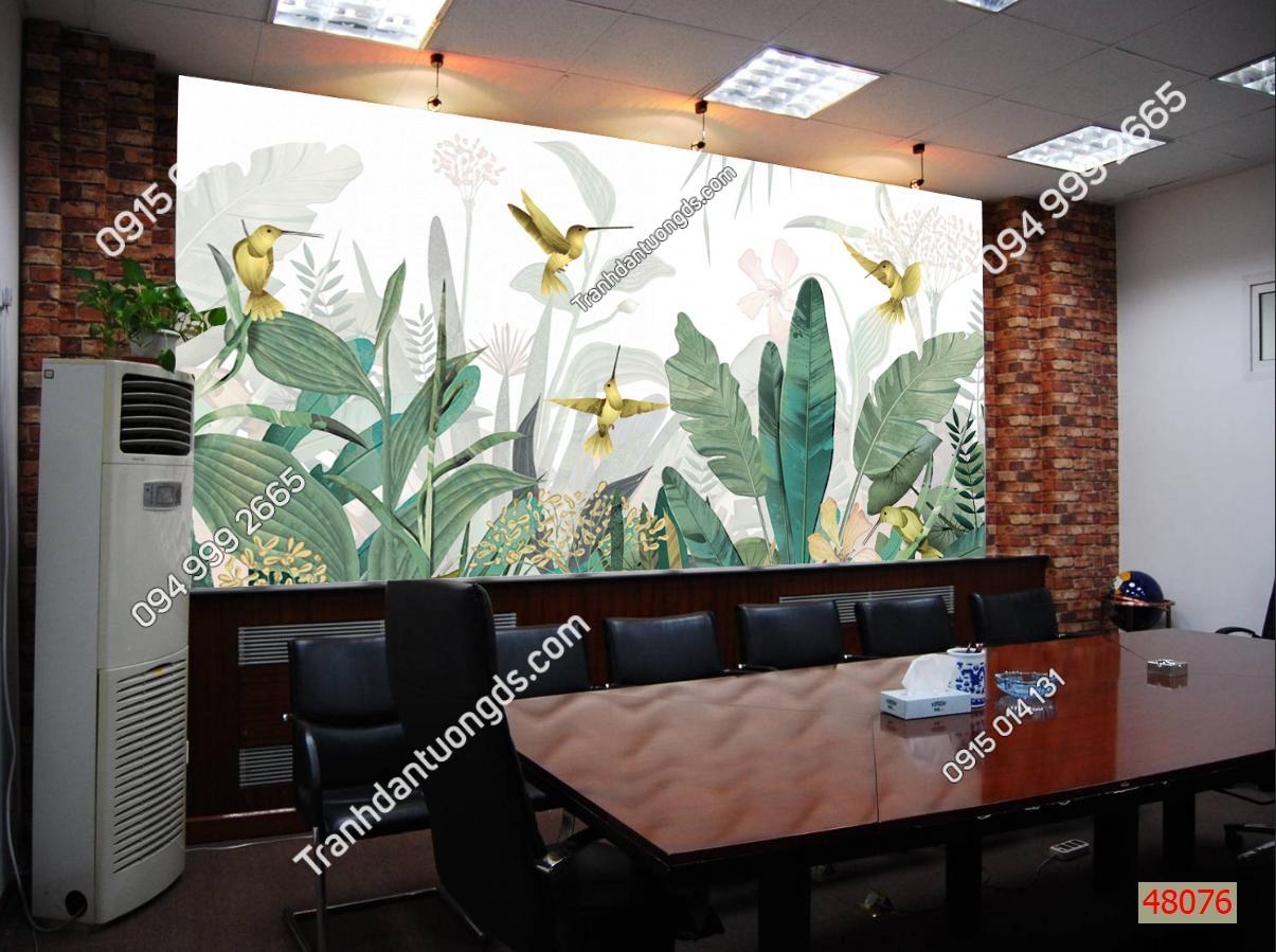 Tranh dán tường lá cây nhiệt đới dán văn phòng 48076 demo