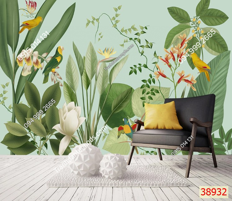 Tranh dán tường lá cây nhiệt đới mã 38932 demo