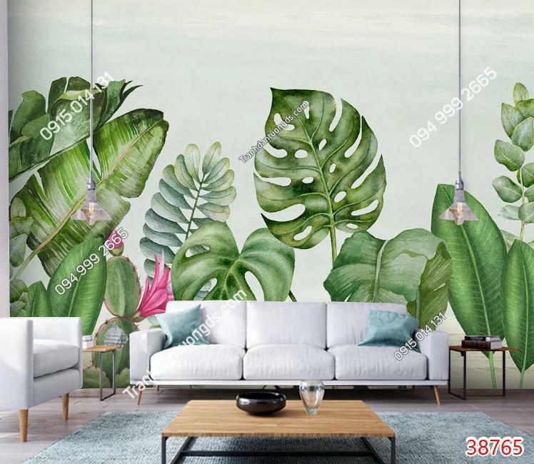 Tranh dán tường lá cây nhiệt đới phòng khách 38765 demo