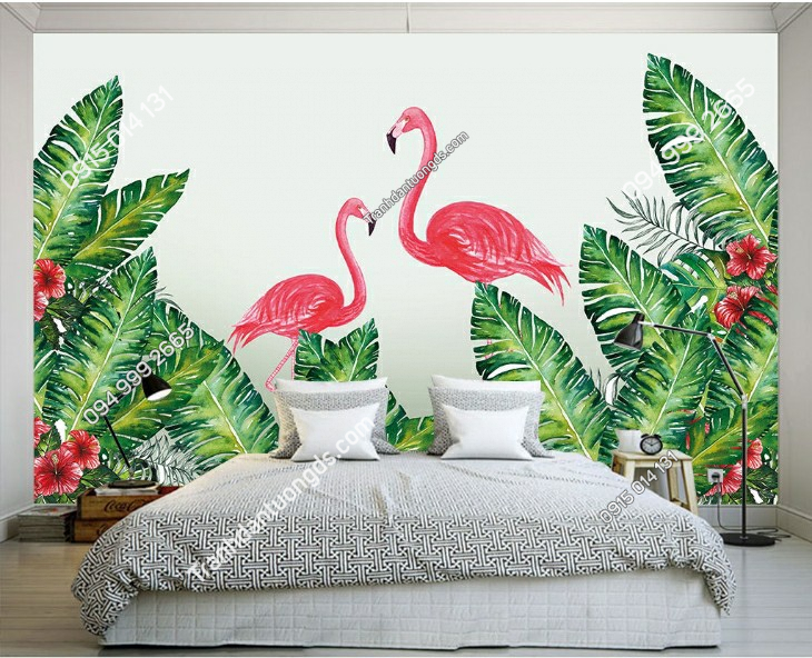 Tranh dán tường lá cây nhiệt đới phòng ngủ 11127 demo