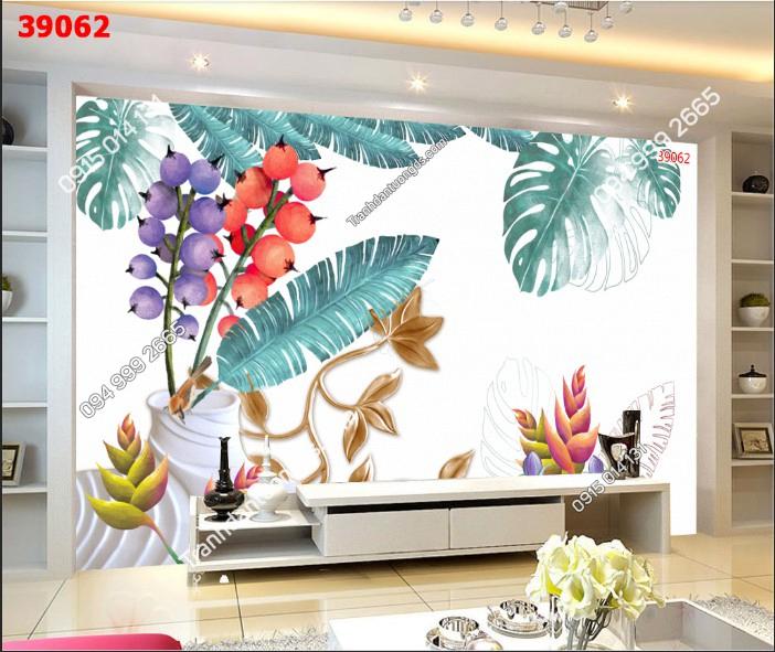 Tranh dán tường lá cây nhiệt đới sau kệ tivi 39062 - DEMO