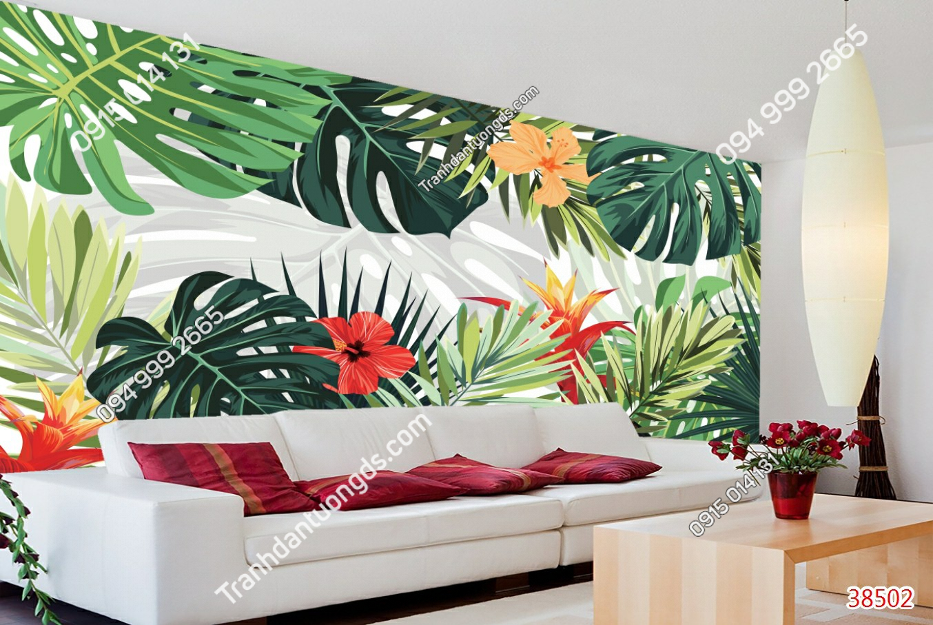 Tranh dán tường lá cây nhiệt đới sau sofa 38502 demo1