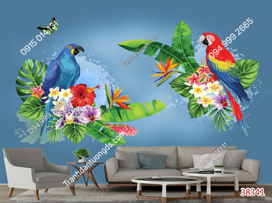 Tranh dán tường lá cây nhiệt đới và vẹt 38341 demo