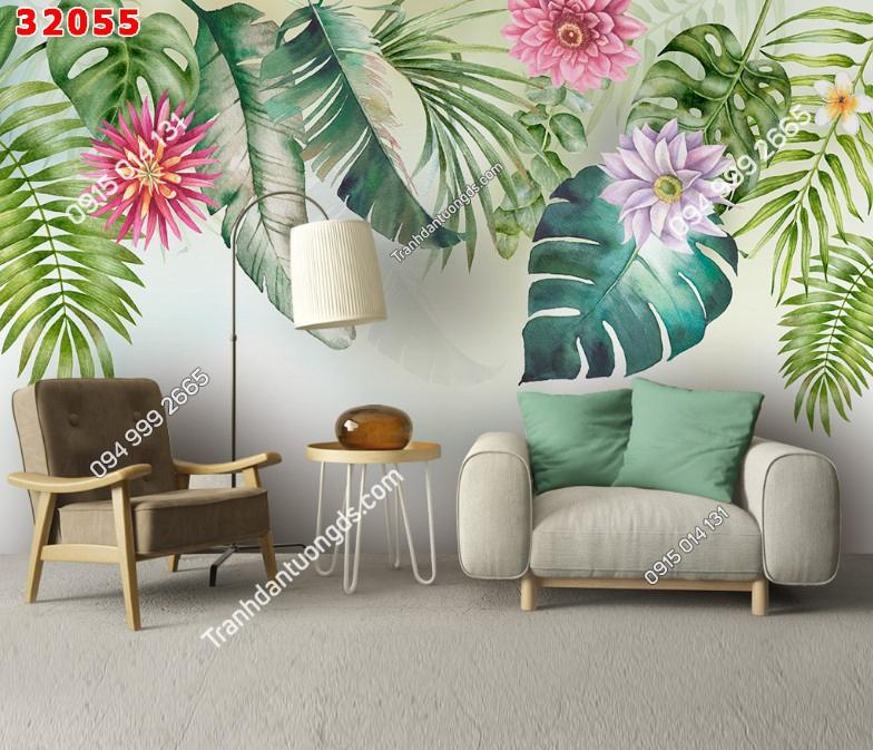 Tranh dán tường lá hoa cây nhiệt đới 32055 pc